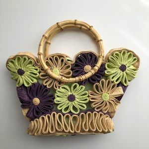 Handbags - Floral Tote With Bamboo Handles